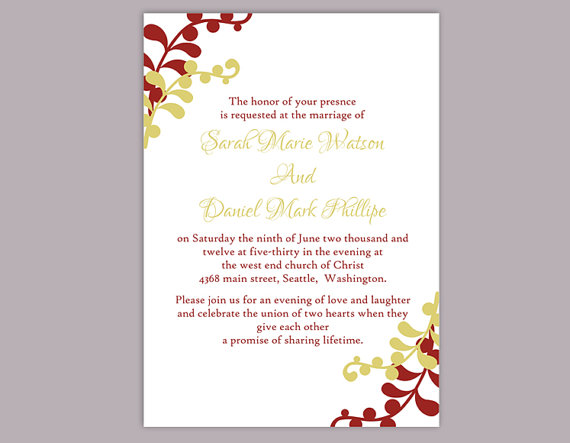 Diy wedding invitation template editable word file instant download elegant printable invitation for Instant download invitations
