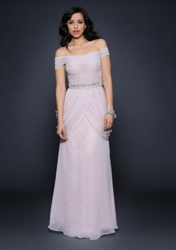 Hochzeit - 2015 Off The Shoulder Pink Short Sleeves Zipper Ruched Chiffon Floor Length