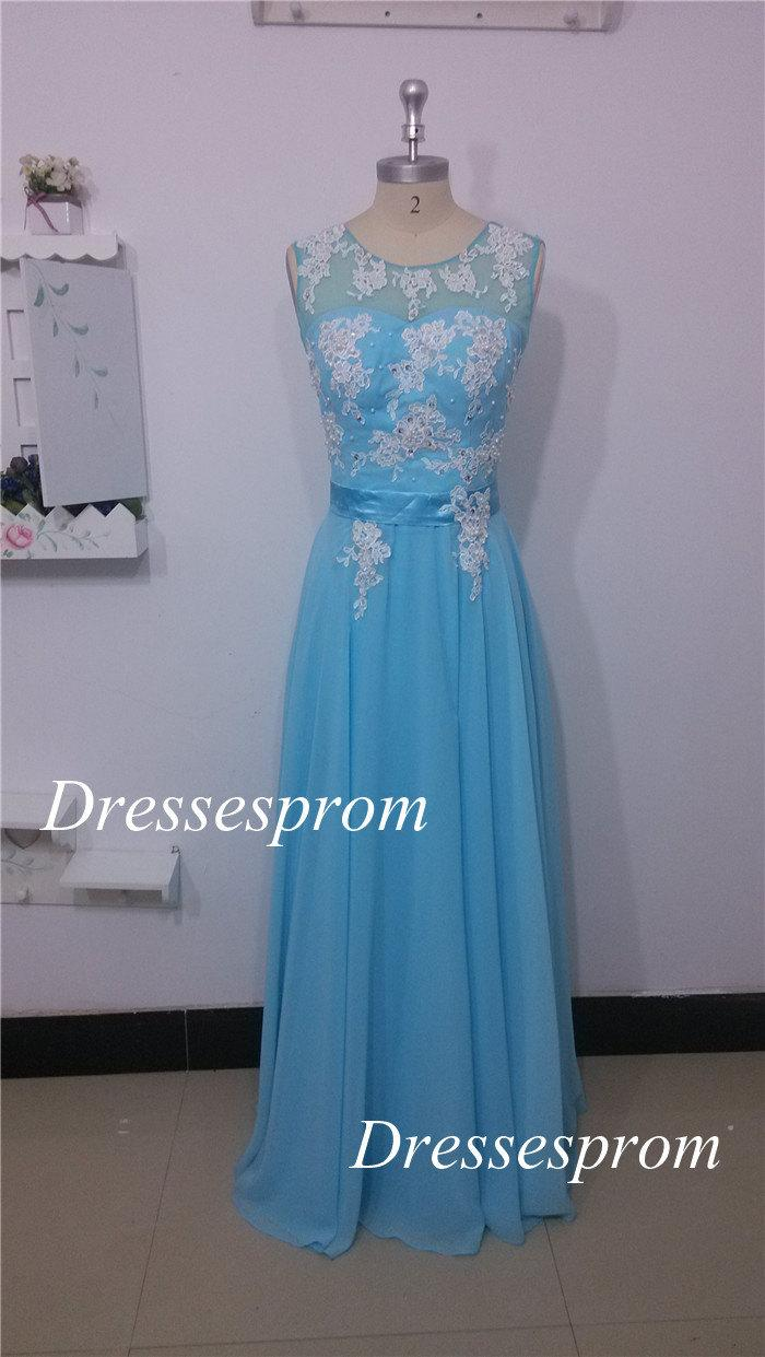 Prom Dresses 2015 Chiffon Prom Dresses With Applique Lace,chic Floor ...