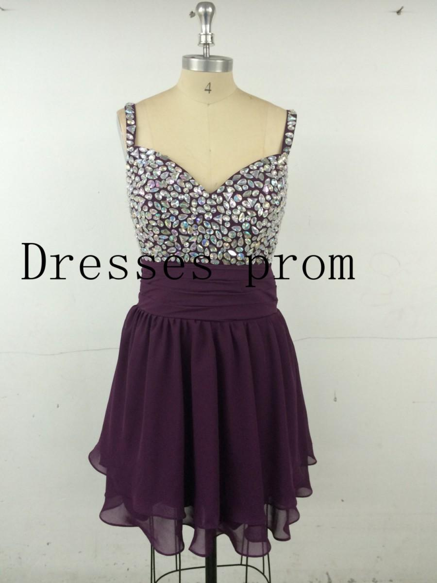 Wedding - 2014 short Grape homecoming dress in chiffon Chiffon Short Prom Dress/ Cocktail Dress/ Party Dress/ Homecoming Dress /Sweet