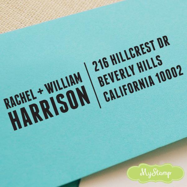 Wedding - CUSTOM ADDRESS STAMP, personalized pre inked address stamp, pre inked custom address stamp, return address stamp with proof - Stamp c6-15