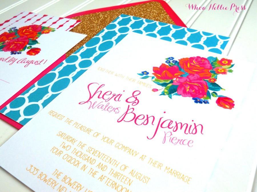 Mariage - Retro Bohemian Floral Wedding Invitations