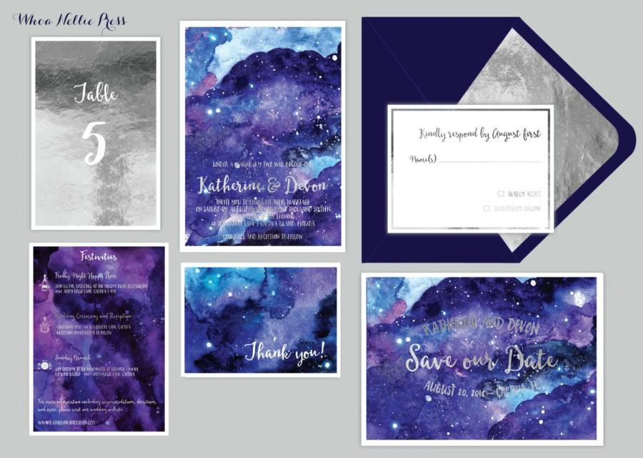 Wedding - Star/Night Sky Wedding Invitations - Starry Night/Whimsical/Watercolor