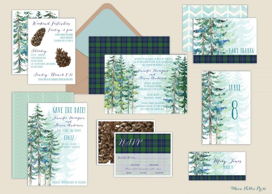 rustic pine invitations watercolor tree wedding invitations winter