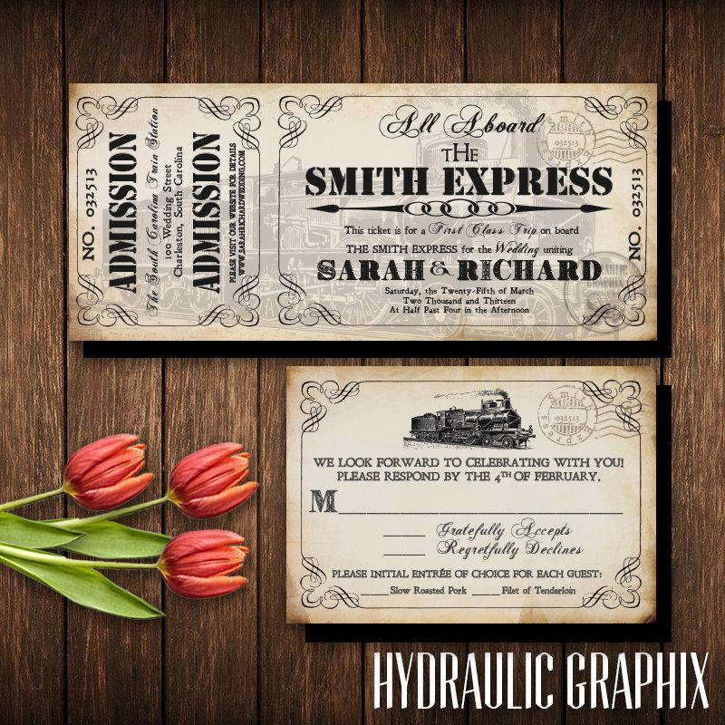Train Ticket Invitation Set Invitation Printable For Steampunk