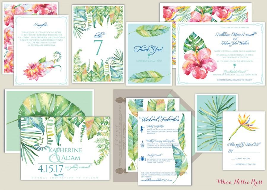 Hawaiimauitropical Watercolor Botanical Wedding Invitations