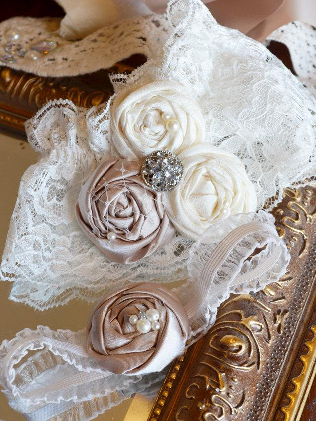 Свадьба - Champagne and Ivory Wedding Garter Set- Couture Lace Bridal Garter includes Toss Garter