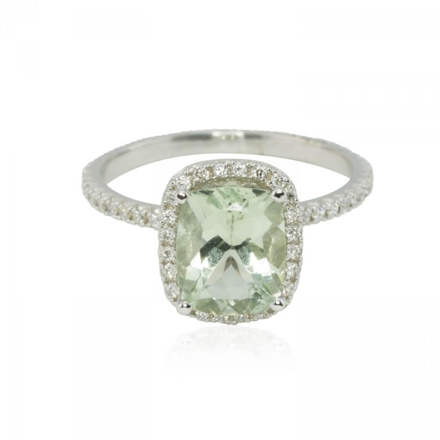 Mariage - Engagement Ring - Cushion Cut Prasiolite Ring with Diamond Halo and Side Halo - LS2536