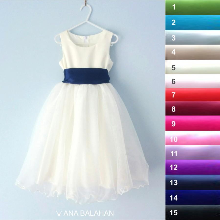 Wedding - Flower girl dress - IVORY, Wedding Junior Bridesmaid, Easter Dress, First Communion For Children Toddler Kids Teen Girls, 15 sash colors