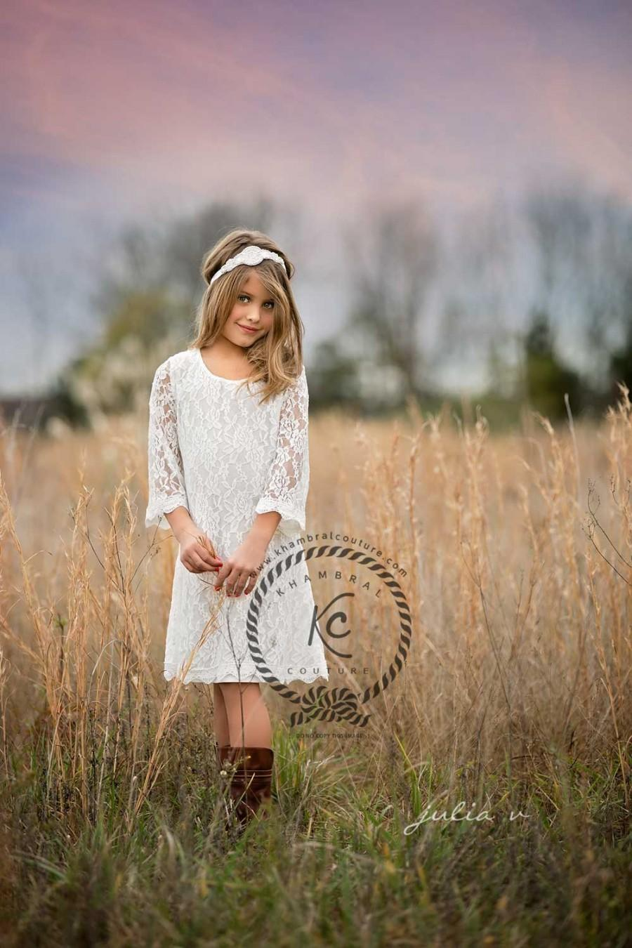 Wedding - flower girl dress ivory flower girl dress girls lace dress lace dress toddler lace dress boho flower girl dress flower girl dress lace