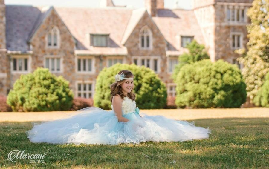 Wedding - Ivory Flower Girl Dress, Flower Girl Dress Tiffany Blue,Tutu Flower Girl Dress,Vintage Tutu Dress,Vintage Flower Girl Dress,Tulle,Tutu Dress