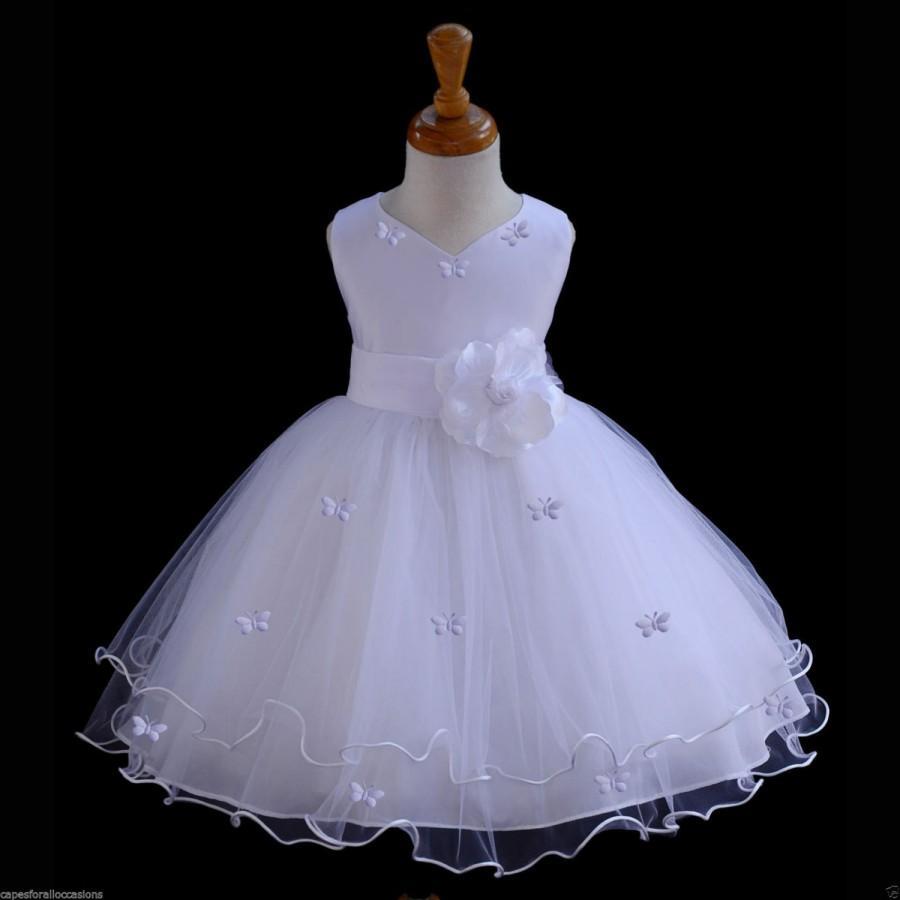 Wedding - White Flower Girl butterfy tulle dress 20 colors tie sash pageant wedding bridal recital children toddler size 12-18m 2 4 6 8 10