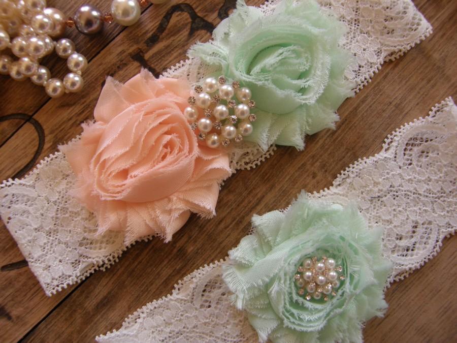 Свадьба - Wedding Garters / Lace Garter / Mint / Soft Peach / Bridal Garter / Toss Garter / Vintage Inspired
