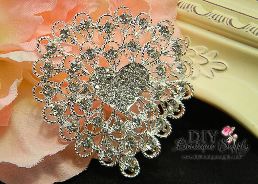 Heart Rhinestone Brooch Embellishment For Wedding Brooch ...
