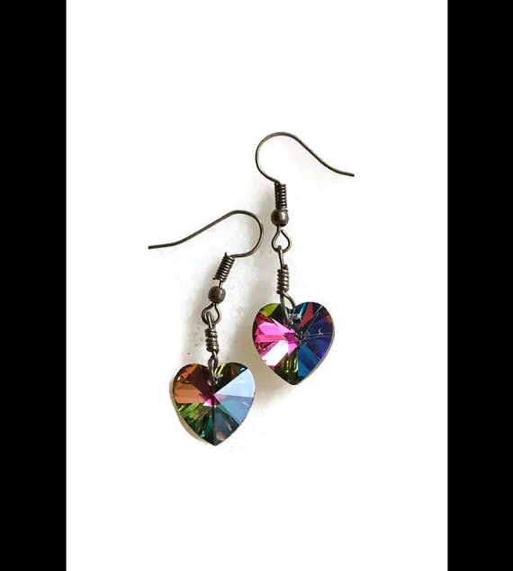 Wedding - Crystal Heart Earrings /multicolor earrings/heart earring/crystal earring /handmade earrings/bridesmaid earrings