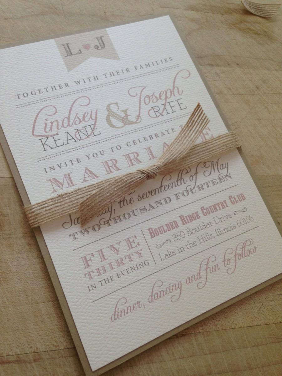 Wedding Invitation Suite Sample Rustic And Vintage Simple And
