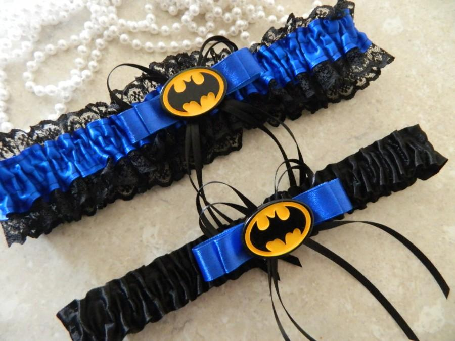 Wedding - Batman themed garter -Keepsake set -Royal Blue
