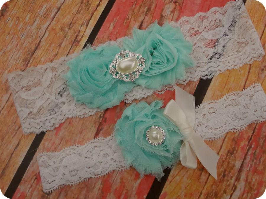 Light Aqua Blue Garter Wedding Garters Set Ivory Lace Vintage