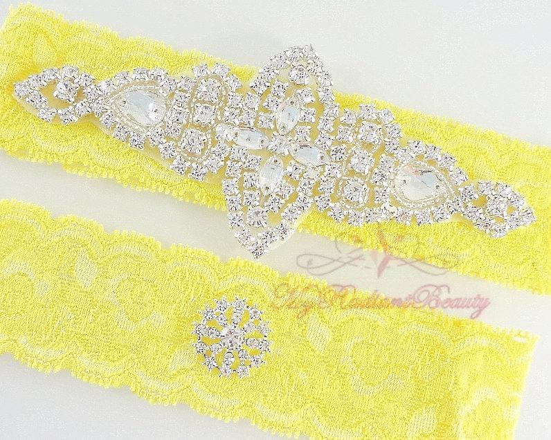 Wedding - Bridal Garter, Wedding Sexy Garter, Crystal Applique Garter, Yellow Lace Rhinestone Garter, Handmade Custom Garter, Beaded Garter GTA0057
