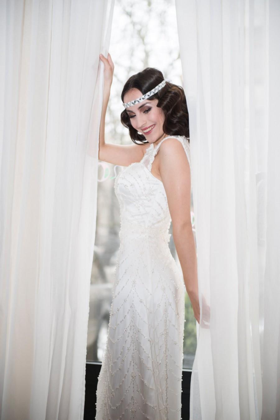 Wedding - Ivory Lace Wedding Dress L6, Satin and Lace Wedding Dress with Pearls, Romantic wedding gown, Classic bridal dress, Custom order