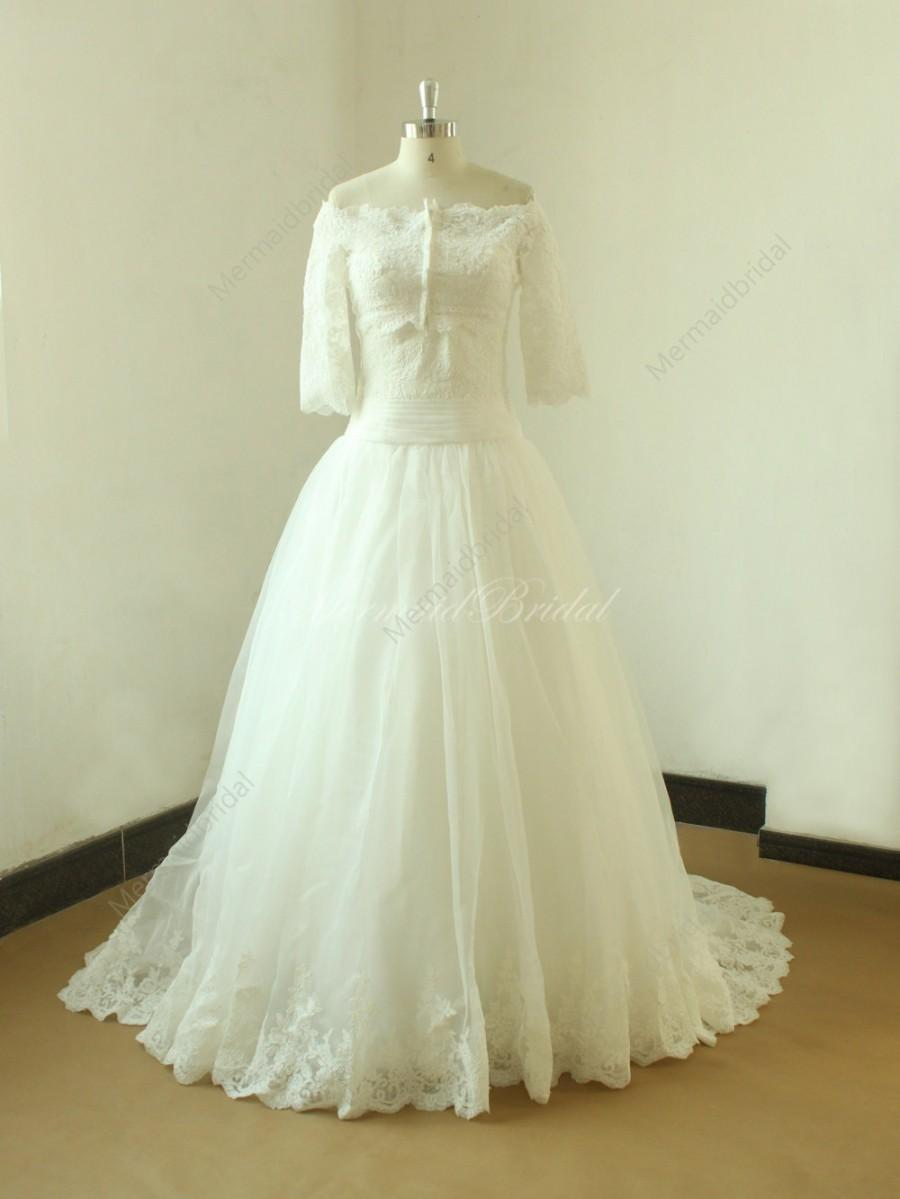 Wedding - Ivory Modest  Vintage lace Wedding dress with removable bolero