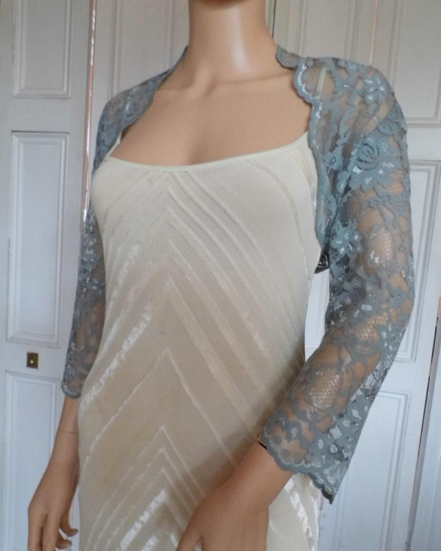 Wedding - Pewter/Silver Grey lace three-quarter length sleeved scalloped edged bolero/shrug/jacket in UK sizes 8, 10, 12, 14, 16