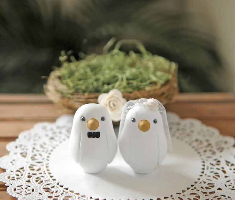 Wedding - Custom Wedding Cake Topper -  Small Hand Painted Love Bird Cake Topper