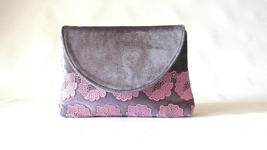 Grey Wedding Clutch Velvet Bridal Lace Bridesmaid Pink Fl Purse Gift Pewter And