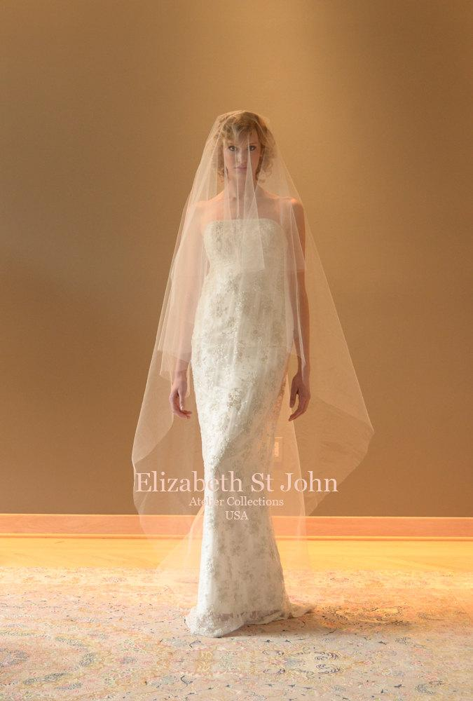 Wedding - Cathedral length veil with blusher - Ready to Ship