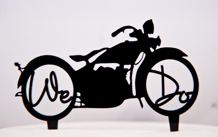Harley Davidson Motorcycle Wedding Cake Topper With We Do In The Wheels
