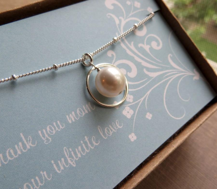 Mariage - Mother of the bride gifts, Mother of the bride necklace, eternity pearl necklace, bridal party gifts & card, eternity necklace