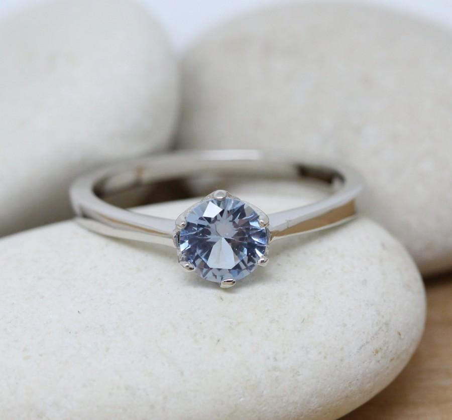 Mariage - 1ct genuine aquamarine Solitaire ring available in white gold or sterling silver - engagement ring - wedding ring - silver ring