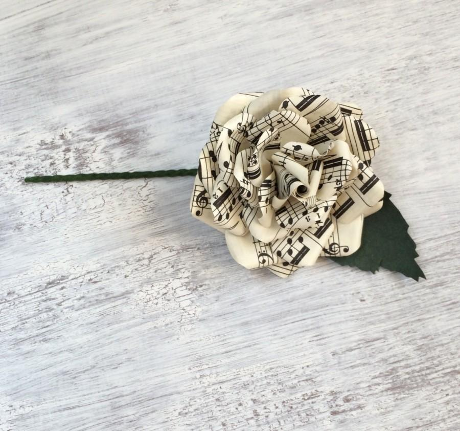 Свадьба - Music Paper Buttonhole Boutonnière Groom Groomsmen Best Man Wedding Flowers - other colour/paper options & matching bouquet available