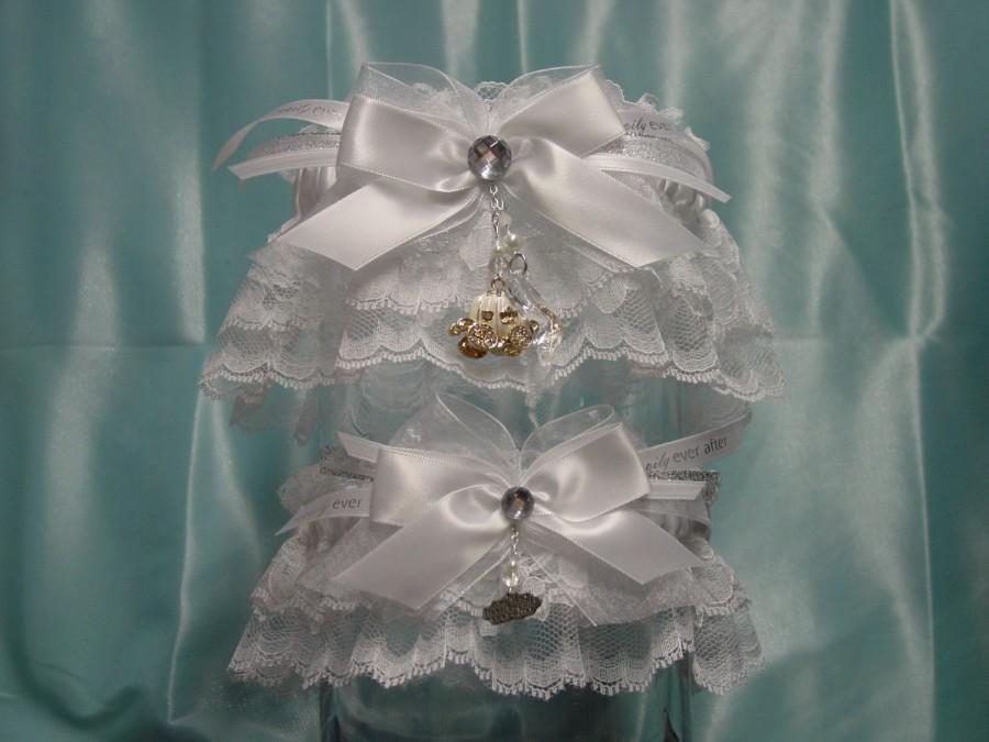 Hochzeit - White Cinderella Rhinestone Pumpkin Carriage Wedding Garter Set