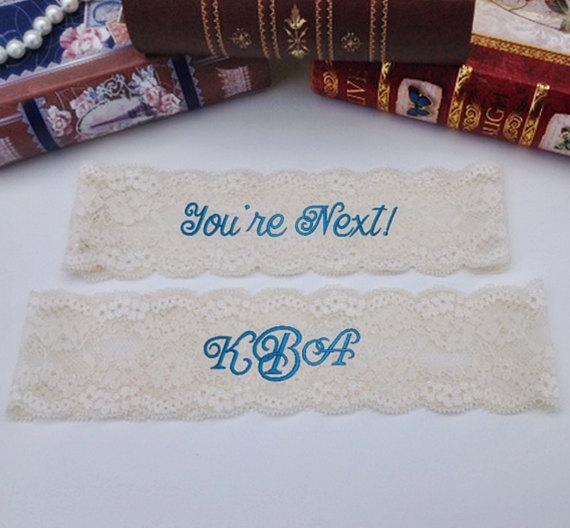 Hochzeit - Bride's Garter, Personalized, Custom, Embroidered Monogram Lace Garter Wedding garter