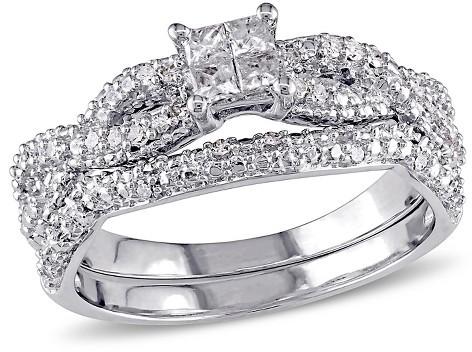 Свадьба - Allura 3/8 CT. T.W. Round and Princess Cut Diamond Quad Infinity Bridal Set in Sterling Silver