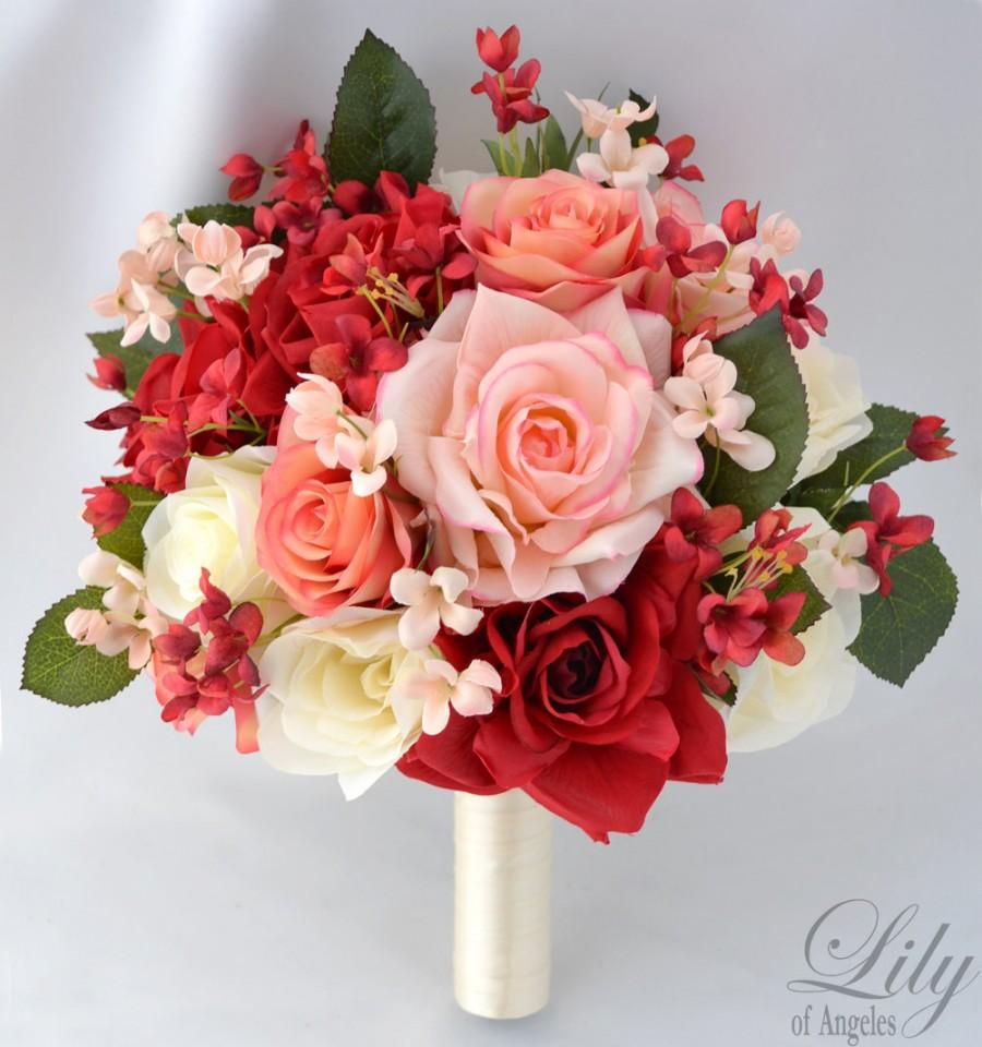"""Mariage - 17 Piece Package Wedding Bridal Bride Maid Of Honor Bridesmaid Bouquet Boutonniere Corsage Silk Flower PEACH CORAL """"Lily of Angeles"""" IVRE03"""