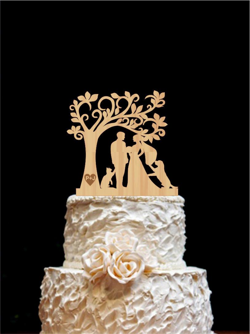 Mariage - Wedding Cake Topper With Dog Rustic Wedding Cake Topper  Cat- Silhouetee Cake Topper Wedding Cake Topper