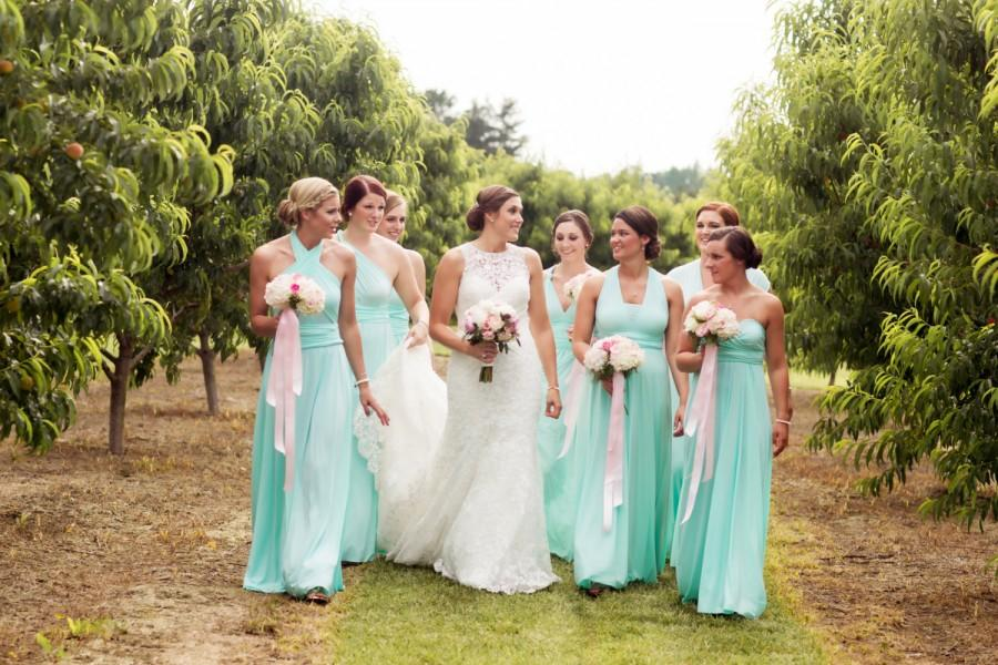 Mariage - Infinity MAXI  hundreds of fabric choices -made to measure convertible dresses  tiffany teal aqua mint blue  MISMATCHED available