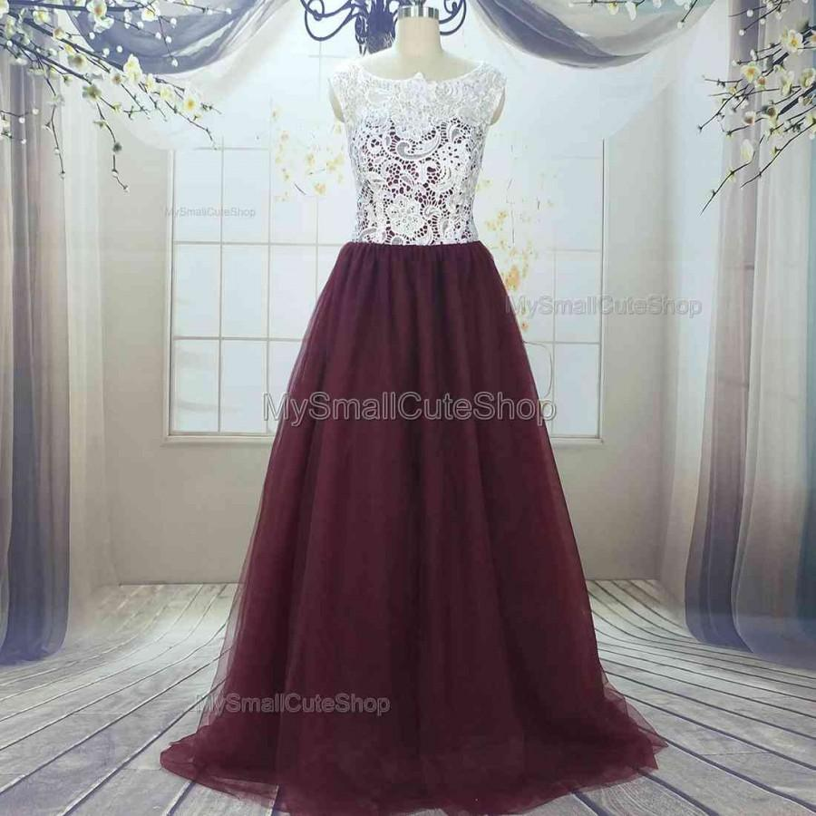 Mariage - Burgundy prom dresses,lace applique bridesmaid dresses,tulle prom dress,long party dress,evening dress,tulle formal dress,women's dress