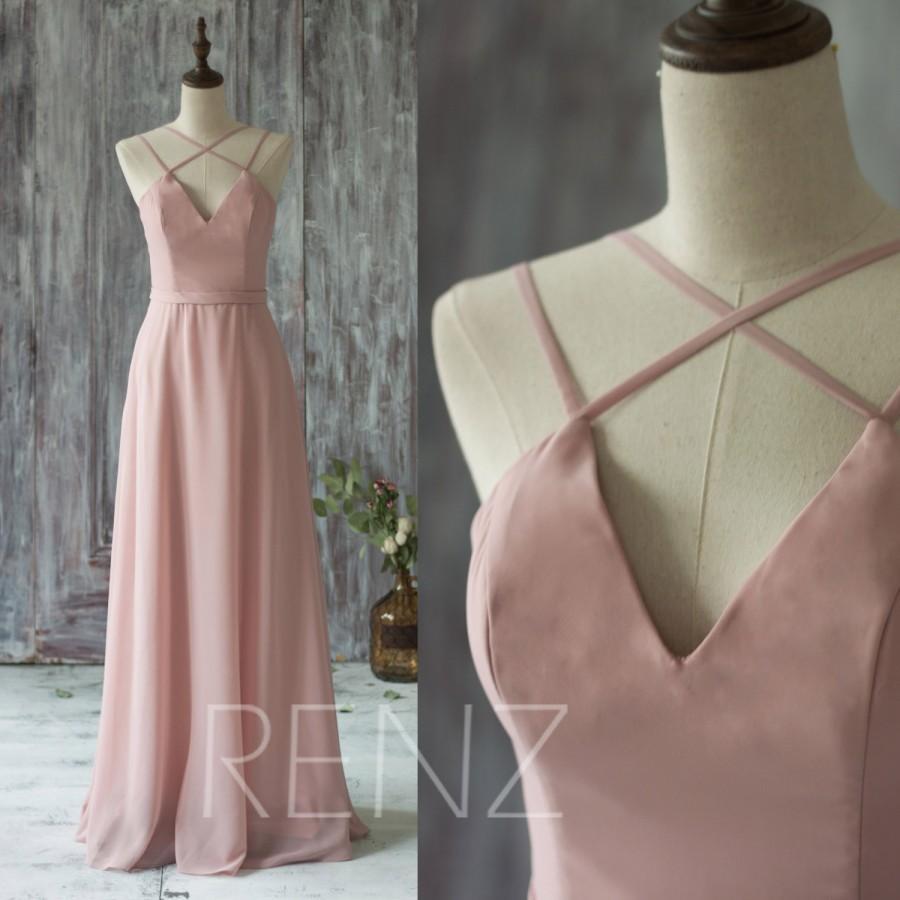 Wedding - 2016 Long Chiffon Bridesmaid Dress Straps, Dusty Rose Wedding Dress, V Neck Spaghetti Strap Prom Dress, Evening Gown Floor Length (T159)