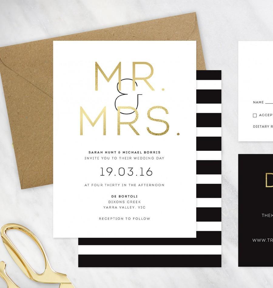 Black, Gold And White Wedding Invitation - DEPOSIT #2500727 - Weddbook