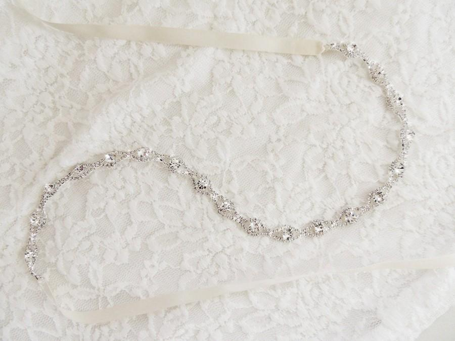 "Mariage - 18"" Thin Crystal Bridal Gown Sash Belt, Crystal Sash, Wedding Dress Sash belt, Thin Rhinestone Beaded Sash"