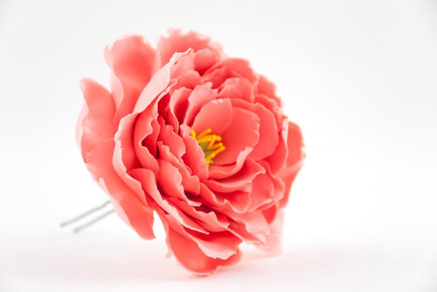 Wedding - Peonies hair accessories Coral hair pins Red peonies flower hair clips Wedding hair flowers Clay flowers hair jewelry Bridal hair pieces