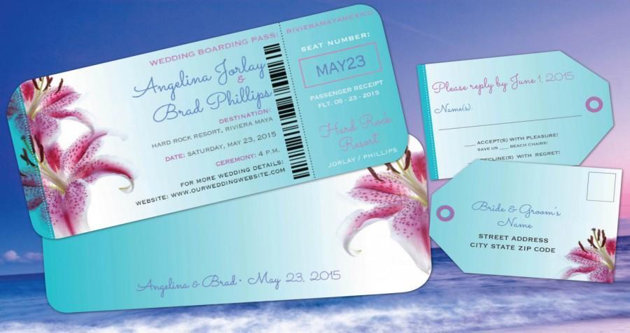 Wedding - Wedding Destination Boarding Pass Invitation // Luggage Tag Reply // Beach Tropical Aqua Flowers//
