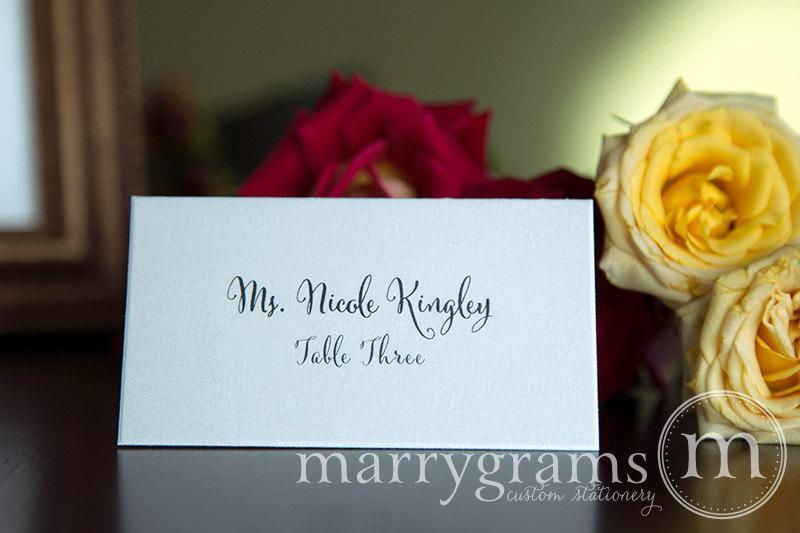 Wedding place cards simple calligraphy script escort