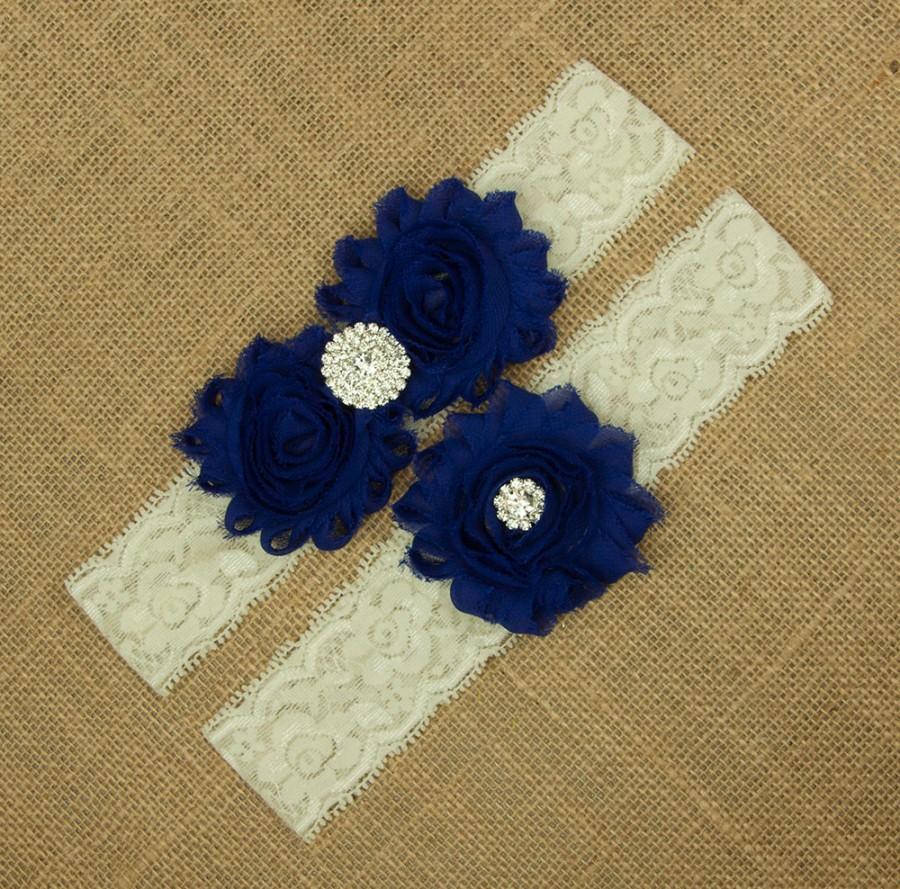 Свадьба - Royal Blue Wedding Garter, Blue Garter, Something Blue, Royal Blue Garter, Bridal Garter Set, Lace Wedding Garter, Lace Garter. SCIS-B04