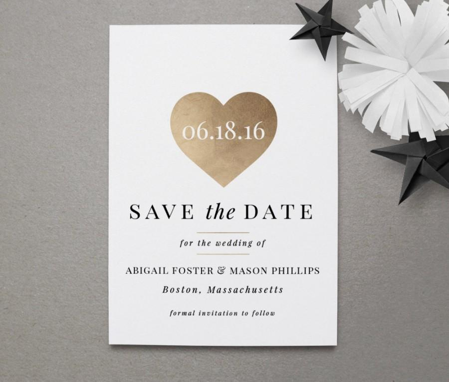 instant download save the date template heart of gold wedding
