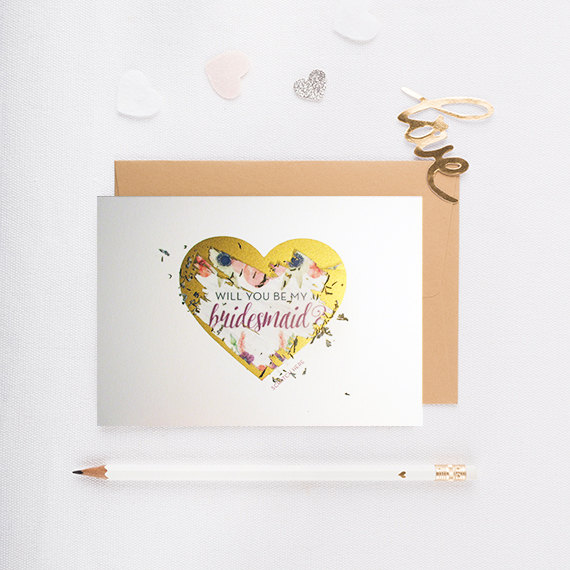 Boda - Scratch Off Will You Be My Bridesmaid Card, bridesmaid proposal, gold, will you be my maid of honor, wedding, gold heart, silver heart