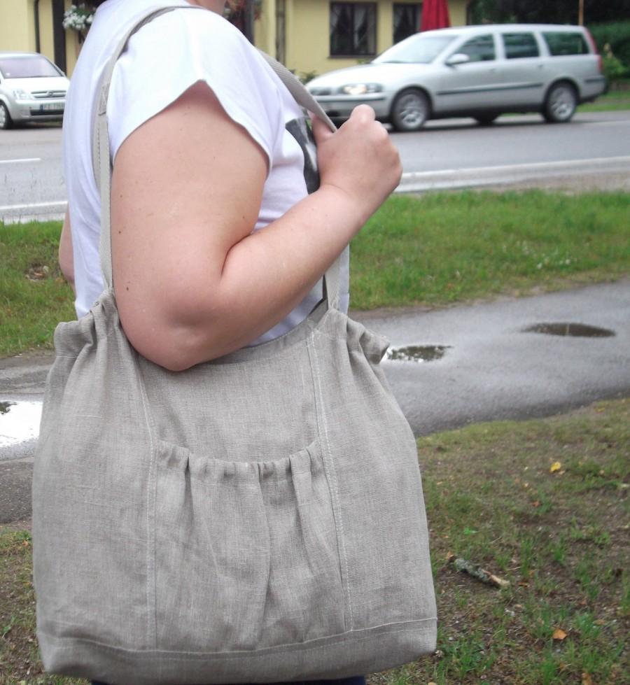 Mariage - Large linen tote bag bridesmaid favor bag organic gray linen large beach fabric bag